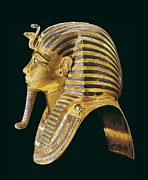 Egyptian Art Prints - The Gold Mask. Ca. 1340 Bc. Gold Mask Print by Everett