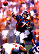 Denver Broncos Drawings Prints - The Gun John Elway Print by Iconic Images Art Gallery David Pucciarelli