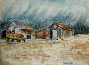 Snow Covered Pastels Prints - The Hay Wagon Print by Tim  Swagerle