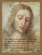 Jesus Digital Art Prints - The Head Of Christ Print by Leonardo da Vinci