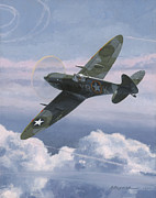 Mustang Aviation Art Paintings - The High Country by Wade Meyers