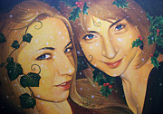 Sisters Drawings - The Holly and the Ivy by Yuri Leitch