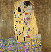 Gustav Klimt. Kiss Posters - The Kiss Poster by Gustav Klimt 