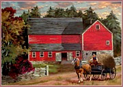 Wagon In A Barn Prints - The Last Wagon Print by Ronald Chambers