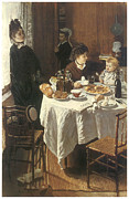 Victorian Dress Posters - The Luncheon Poster by Claude Monet