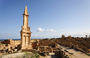 Paved Street Prints - The Mausoleum of Bes at Sabratha in Libya Print by Robert Preston
