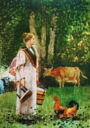Rural Life Painting Framed Prints - The Milk Maid Framed Print by Pg Reproductions
