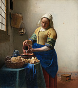 Jan Vermeer Paintings - The Milkmaid by Johannes Vermeer