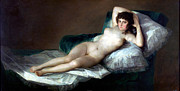 Images Of Woman Posters - The Naked Maja Poster by Francisco Goya