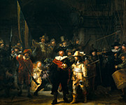 Rembrandt Paintings - The Night Watch by Rembrandt van Rijn