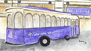 Washington Square Paintings - The NYU Trolley by Lynn Lieberman
