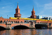 Berlin Germany Prints - The Oberbaum Bridge in Berlin Germany Print by Michal Bednarek