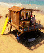 Lifeguard Shack Posters - The Ocean Guard Poster by Ron Regalado