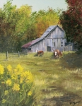 Fall Scenes Paintings - The Old Cow Barn by Bev Finger