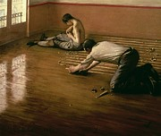 Apartment Framed Prints - The Parquet Planers Framed Print by Gustave Caillebotte