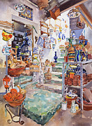 Andalucia Paintings - The Pottery Shop by Margaret Merry