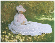 Victorian Era Woman Framed Prints - The Reader Framed Print by Claude Monet