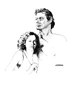 Maureen Drawings - The Real Tarzan And Jane by Joseph Juvenal