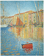 Docked Sailboats Painting Posters - The Red Buoy Poster by Paul Signac
