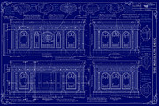 The Resolute Desk Blueprints Drawings Framed Prints - The Resolute Desk Blueprints - Dark Blue Framed Print by Kenneth Perez