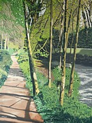 Beauty In Nature Painting Prints - The River Path Print by Malcolm Warrilow
