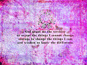 Serenity Prayer Mixed Media Prints - The Serenity Prayer  Print by Marigold Winterstamp