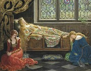 Collier Painting Posters - The Sleeping Beauty Poster by John Collier