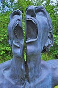 Mouth Sculpture Framed Prints - The Split Man Framed Print by Barry Lennon
