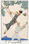 Twenties Framed Prints - The Swing Framed Print by Georges Barbier