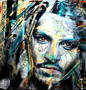 Johnny Mixed Media Posters - The Talented Mr. Depp Poster by Penelope Stephensen