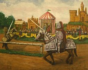 Knights Castle Painting Framed Prints - The Tournament Framed Print by Larry Lamb
