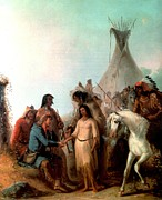 Wa Painting Posters - The Trappers Bride Poster by Alfred Jacob Miller