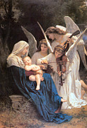 The Mother Digital Art Prints - The Virgin With Angels Print by William Bouguereau