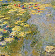 Fresh Green Painting Posters - The Waterlily Pond Poster by Claude Monet