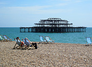Sussex Framed Prints - The West Pier Brighton Framed Print by Mike Lester