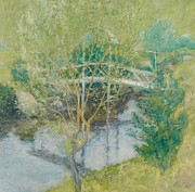 Reflecting Water Paintings - The White Bridge by John Henry Twachtman