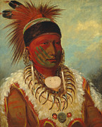 American Indian Portrait Prints - The White Cloud Head Chief of the Iowas Print by George Catlin