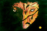 Abstract Wildlife Paintings - The Wolf Is Watching Us by Justin Moore