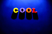 Spell Mixed Media Posters - The Word Cool on Blue Background Poster by Lane Erickson