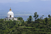 Stupa Prints - The World Peace Pagoda Pokhara Print by Robert Preston