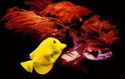 Hawaiian Fish Digital Art Prints - The Yellow Queen Print by Nishanth Gopinathan