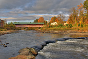 Autumn Scenes Posters - Thompson Covered Bridge 2 Poster by Joann Vitali