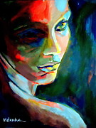 Portraiture Painting Originals - Thoughtful mute by Helena Wierzbicki