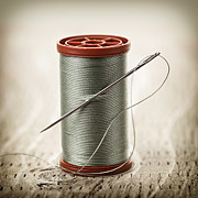 Bobbin Photos - Thread and needle by Elena Elisseeva