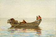 Water Color Digital Art Framed Prints - Three Boys in a Dory with Lobster Pots Framed Print by Winslow Homer