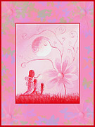 Digital Fairies Prints - Three Daisy Fairies by Shawna Erback Print by Shawna Erback