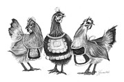 Sassy Drawings Prints - Three French Hens Print by J Ferwerda