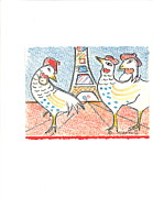 Christmas Greeting Originals - Three French Hens by Kippax Williams
