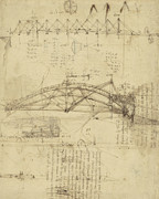 Engineering Framed Prints - Three kinds of movable bridge Framed Print by Leonardo Da Vinci