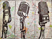 Block Print Drawings - Three Microphones on Map by William Cauthern